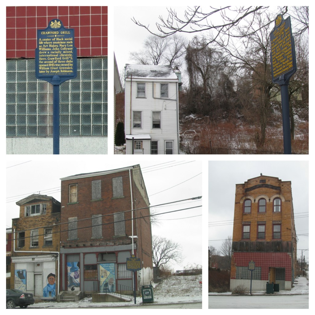 Clockwise from top left: Crawford Grill sign, Art Blakey House, Crawford Grill, August Wilson House.