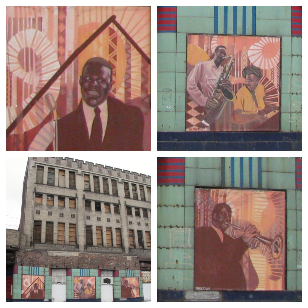 Details of the New Granada Theater featuring Pittsburgh jazz legends. The building was originally built as a Pythian Temple for the Knights of Pythias, an African American craftsmen lodge.