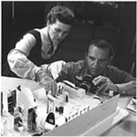 Ray and Charles Working on a Conceptual Model for the Exhibition Mathematica, 1960, photograph.
