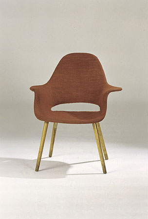 "Chair Designed by Charles Eames and Eero Saarinen for the ""Organic Design in Home Furnishings"" Competition, designed 1940, molded plywood, wood, foam rubber, and fabric."