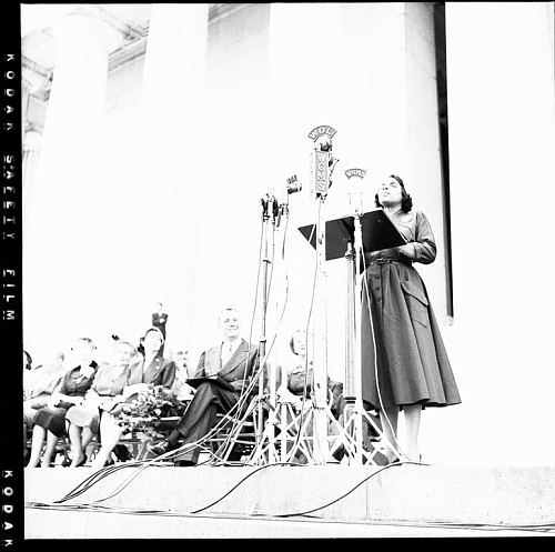 Marian Anderson performing at the Harold L. Ickes Memorial in 1952.