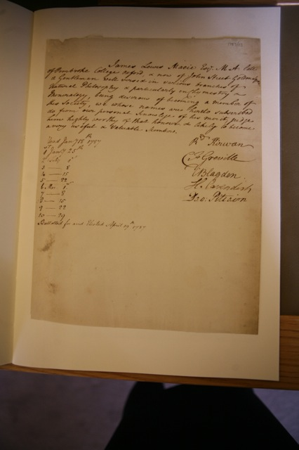 James Smithson's induction into the Royal Society.