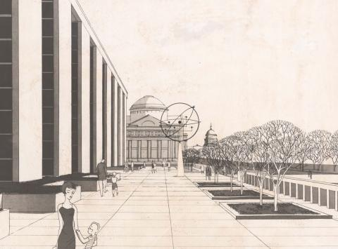 Undated rendering of Mall façade of Museum of History and Technology by architect Walker O. Cain