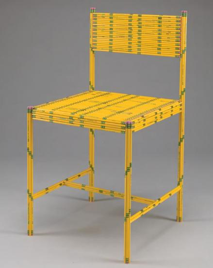 Sculpture of a chair made from pencils by Jeremy Alden