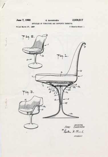 1957 patent drawing for Eero Saarinen chair. US Patent and Trademark Office.