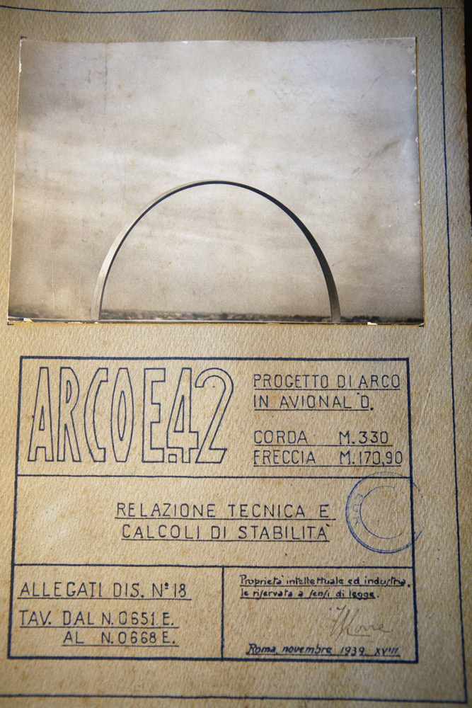 Image of a design drawing of the Arco dell'Impero arch