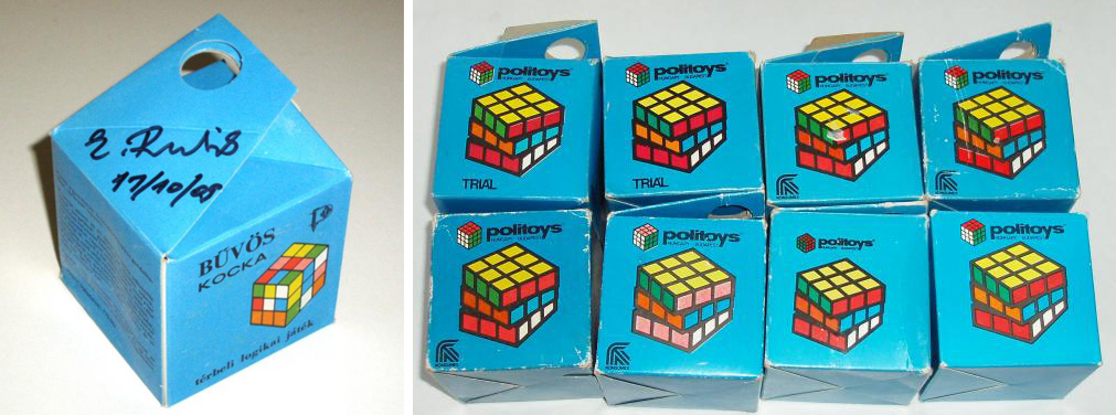 Packaging for the Hungarian version of the Rubik's cube, Bűvös Kocka: electric blue box with colorful Rubik's cube representation.