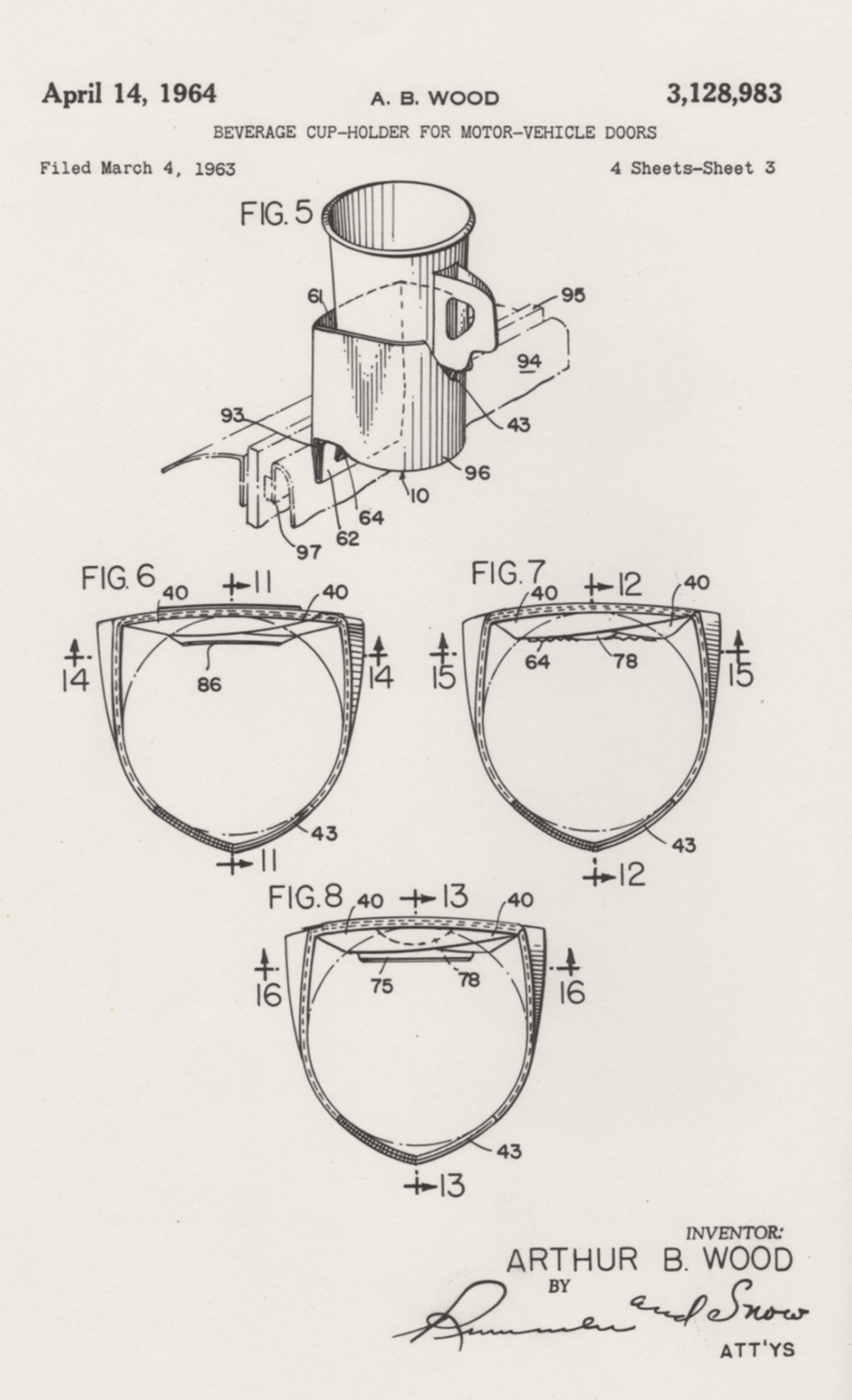 Drawings from a patent for a cup holder