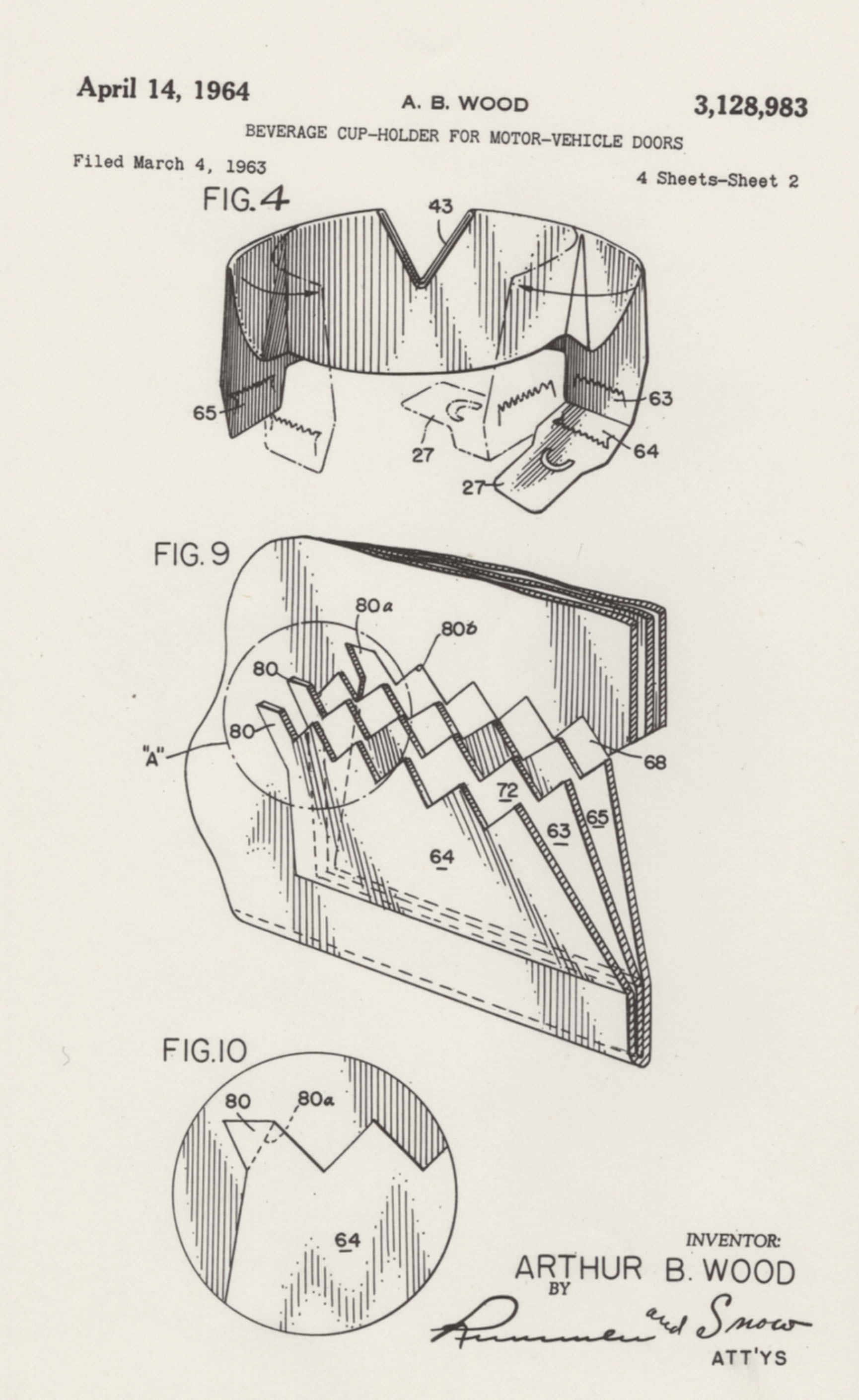 Patent drawings for a cup holder