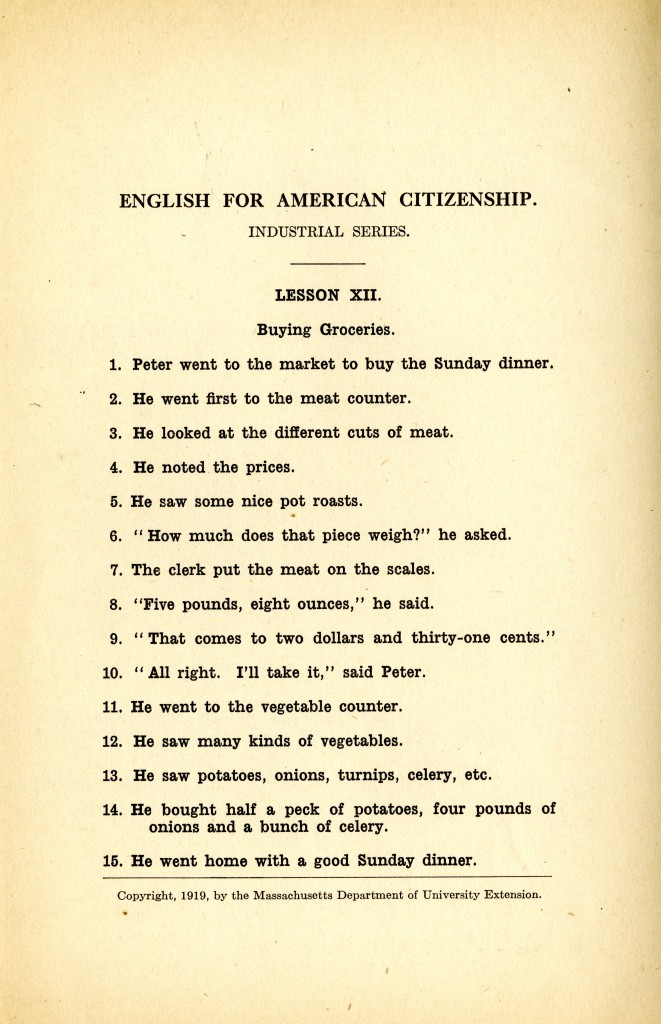 English for American Citizenship, Industrial Series, Lesson XII, Buying Groceries, 1919.