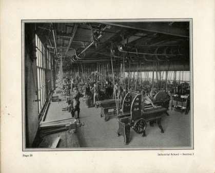 Archival photo of the interior of an industrial school