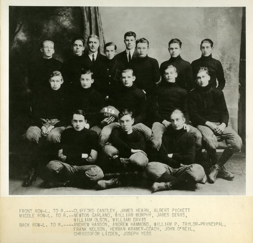 Photograph of the Beverly Industrial School football team, 1913.