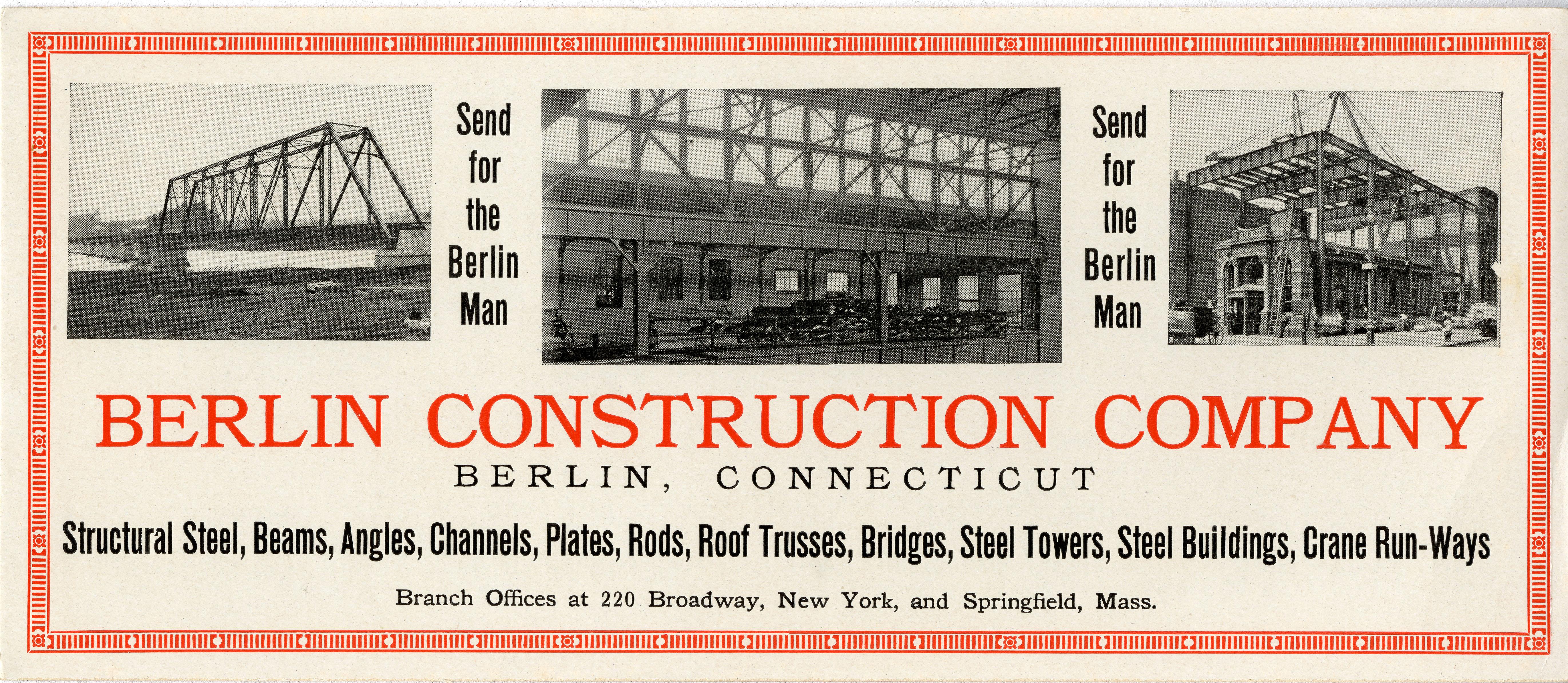 Berlin Construction Company advertising card, undated.