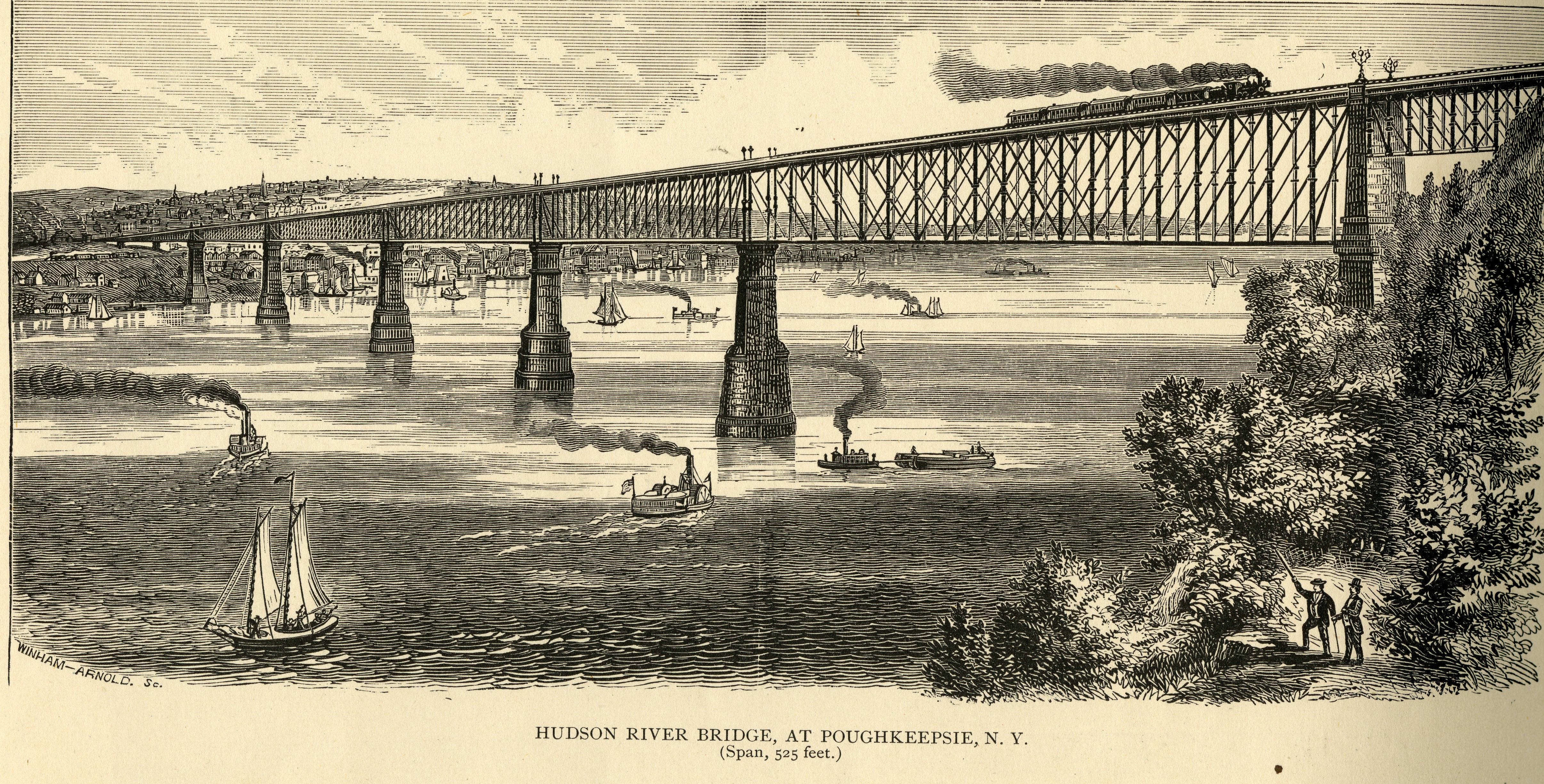 Illustration of Hudson River Bridge at Poughkeepsie, New York