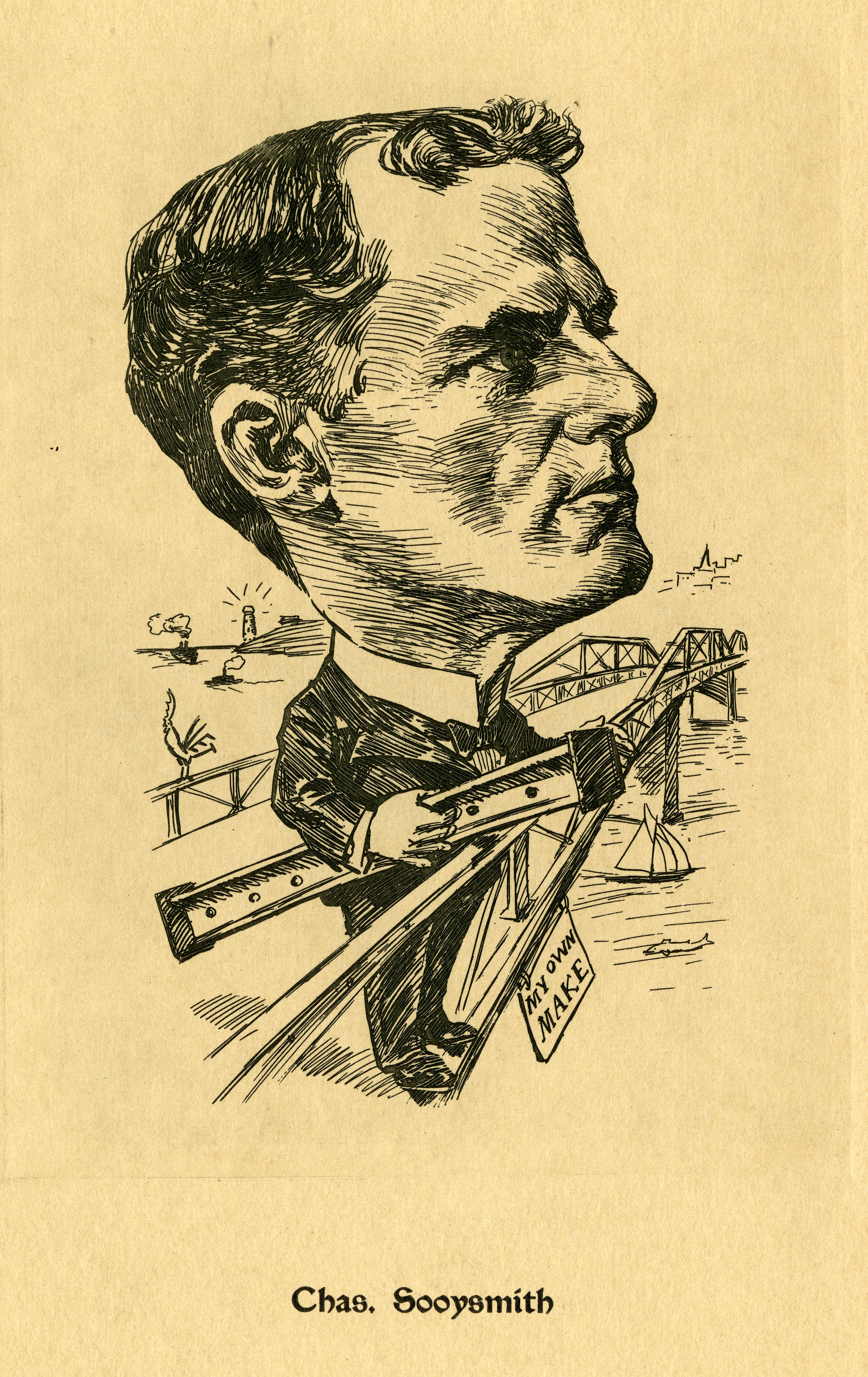 Caricature of Charles Sooysmith (1855-1916), civil engineer and bridge builder.