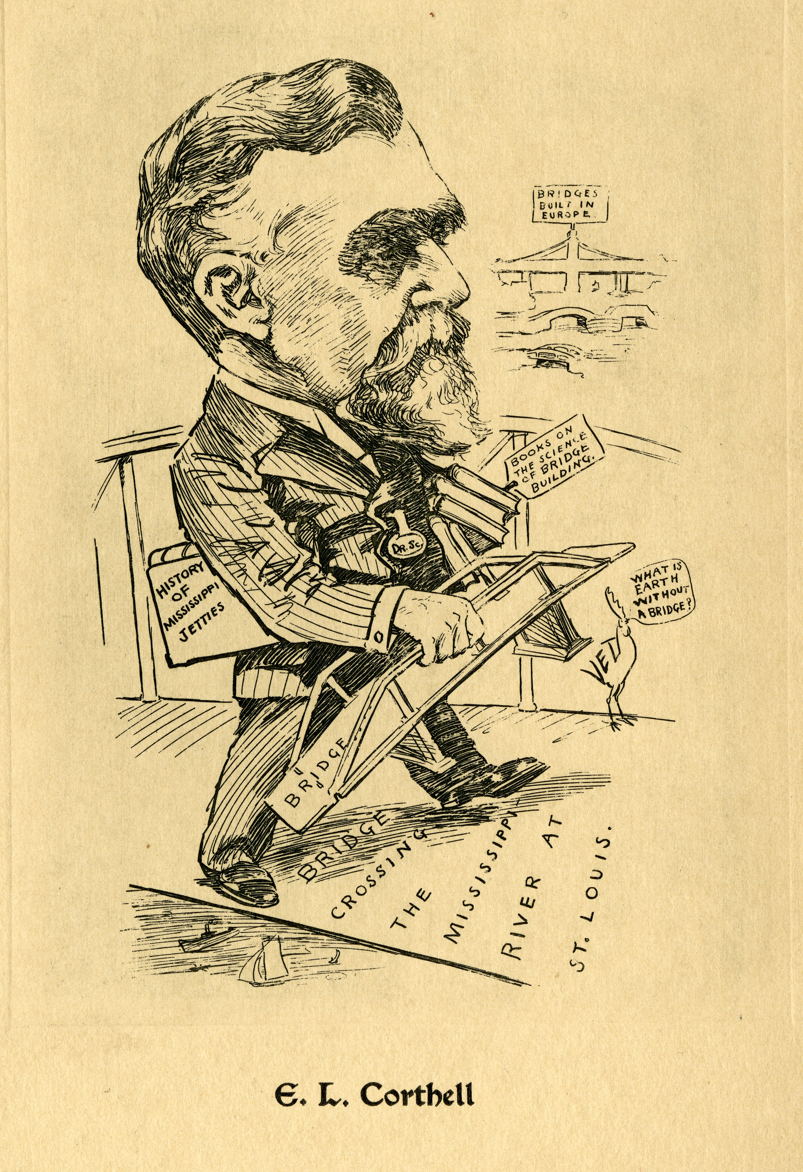 Caricature of Elmer L. Corthell (1840-1916), civil engineer and bridge builder.