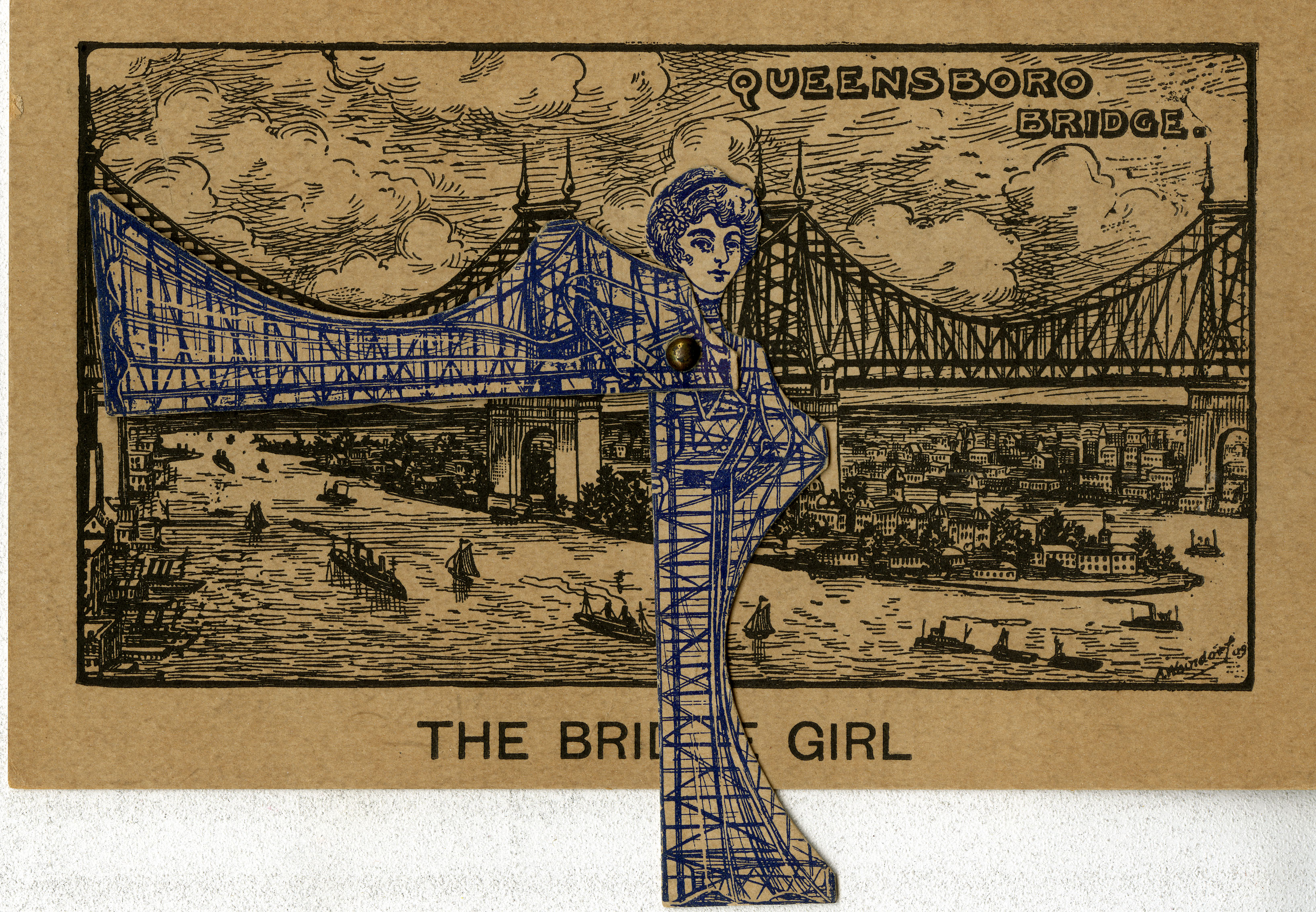 "Postcard where ""The Bridge Girl"" appears."