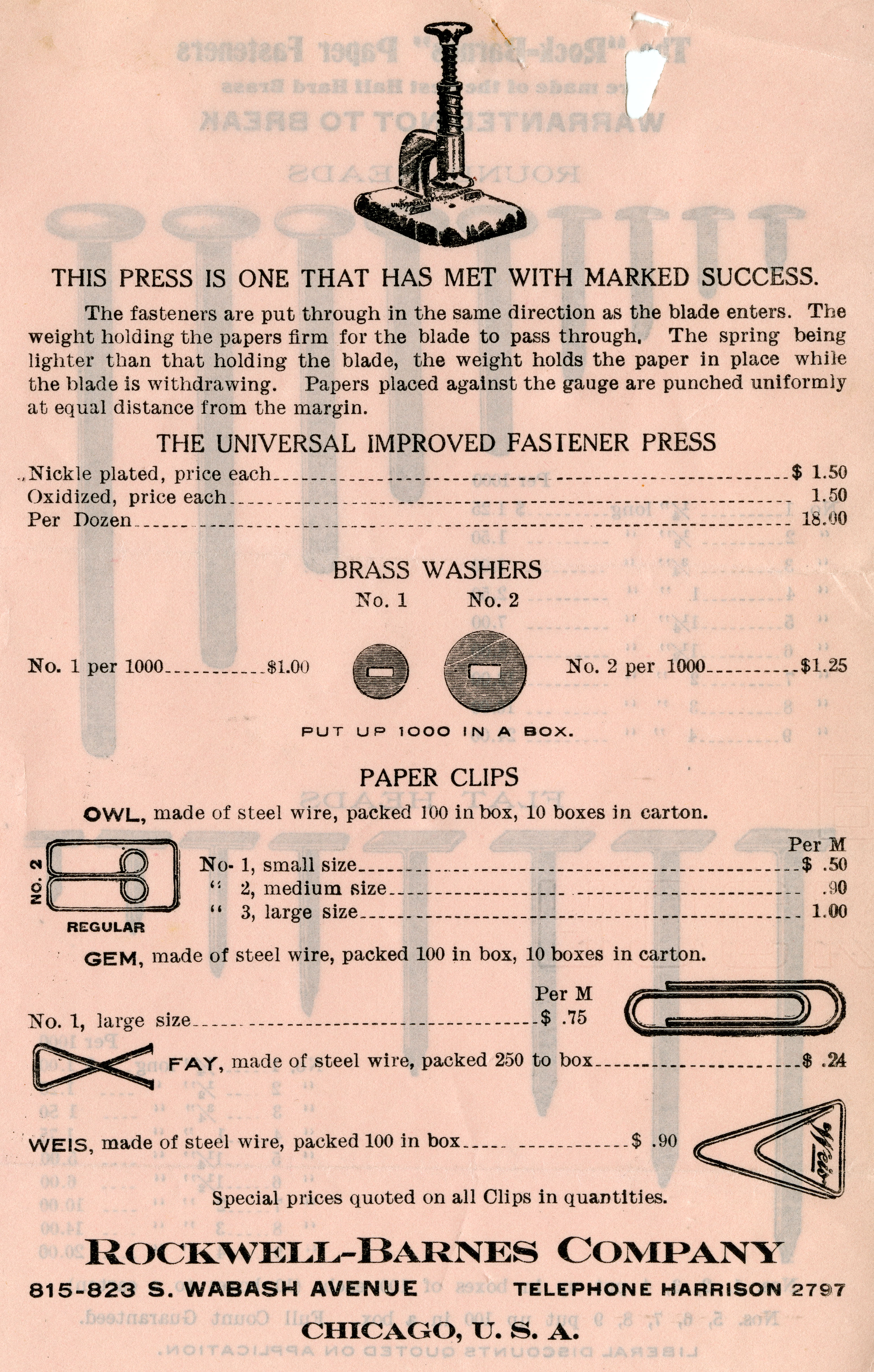 Advertisement and price list for Rockwell-Barnes Company, manufacturer of fasteners, undated.