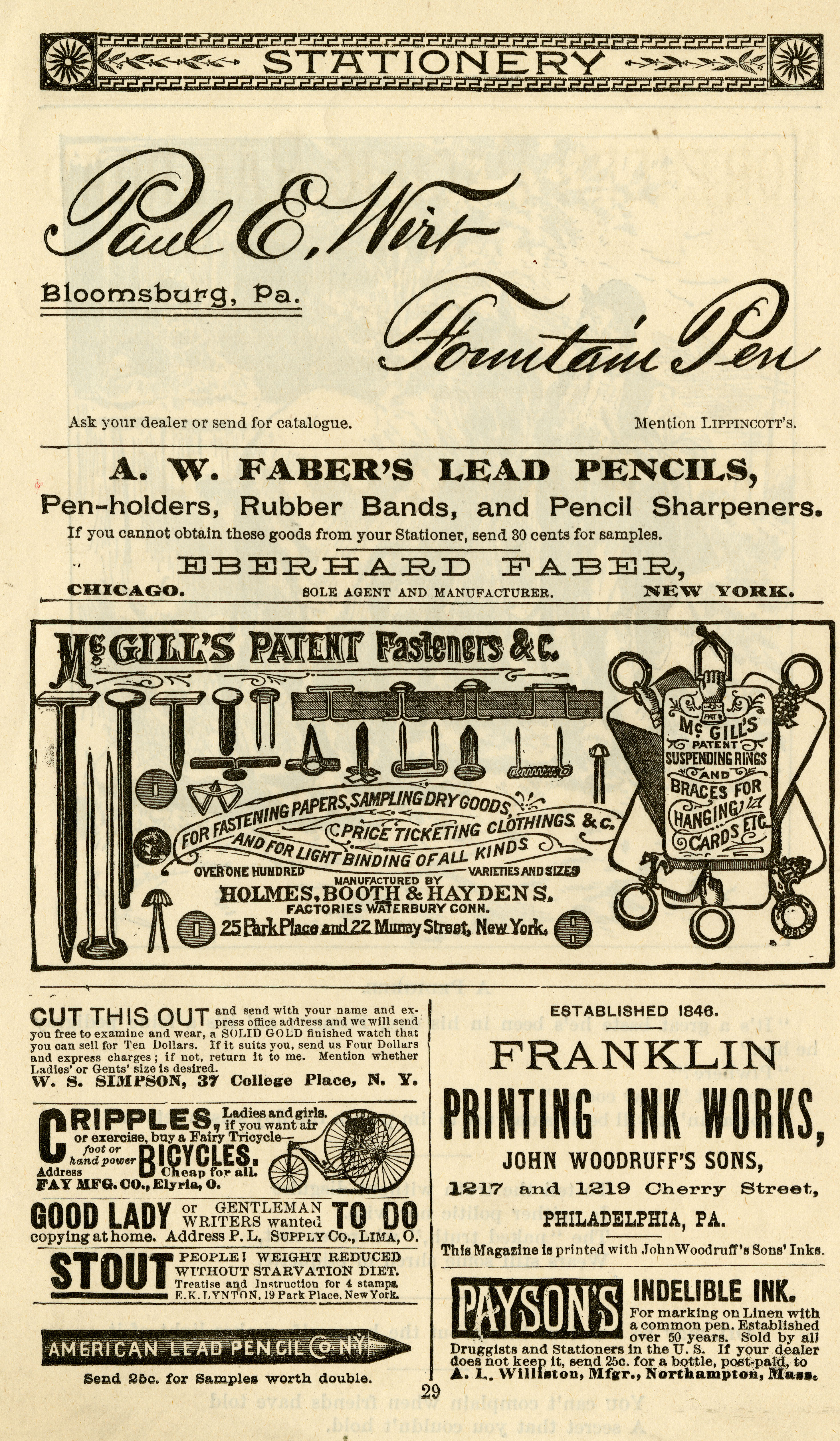 Advertisement for McGill's Patent Fasteners, manufactured by Holmes, Booth & Haydens.