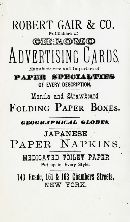 Image of Advertisement, Robert Gair Company, undated.