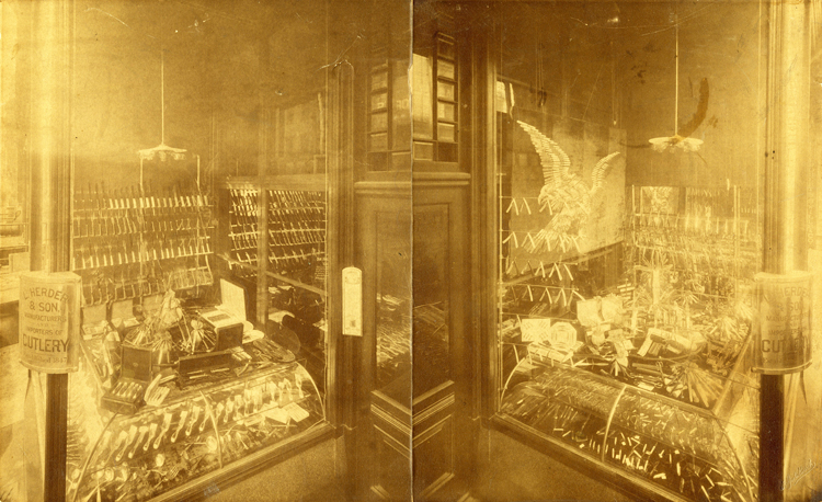 Store window display of American eagle made of knives and scissors, L. Herder & Son, Philadelphia, Pennsylvania, undated