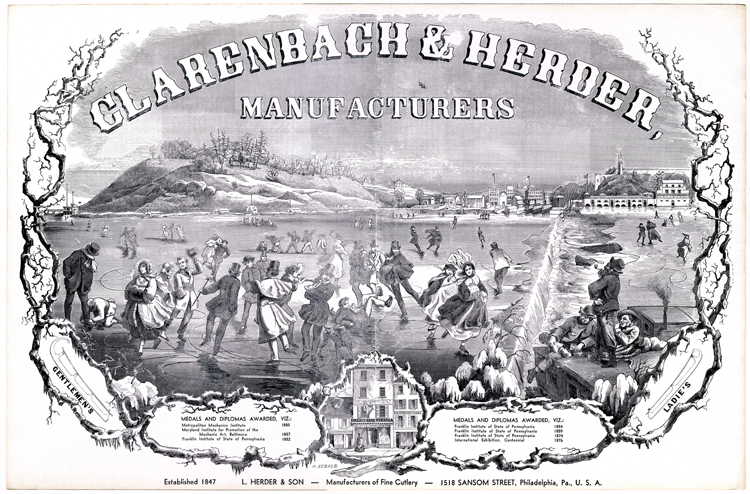 Advertisement for Clarenbach & Herder ice skates, post 1876