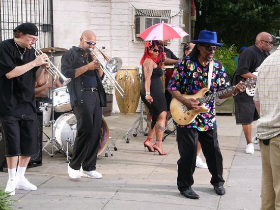 Photo from a Chuck Brown music video shoot. By Flickr user Dale Sundstrum, via the Creative Commons.
