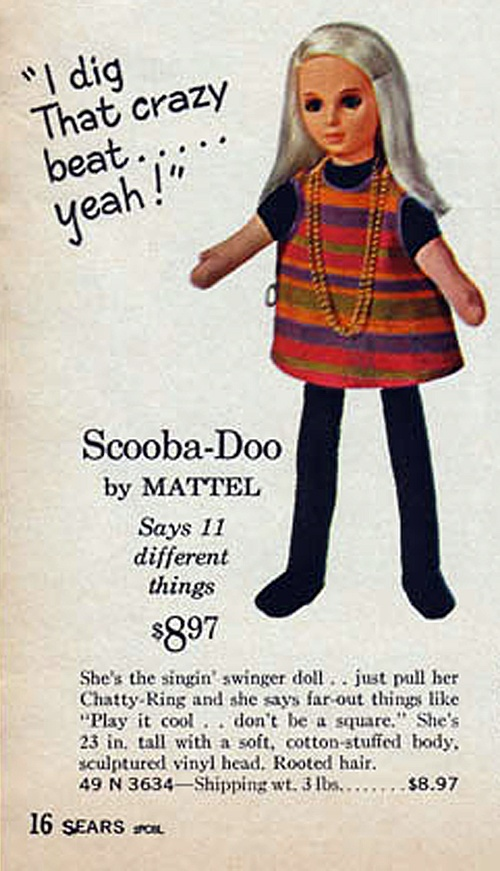 Sears catalog entry for Mattel's counter-culture Scooba-Doo doll, 1964