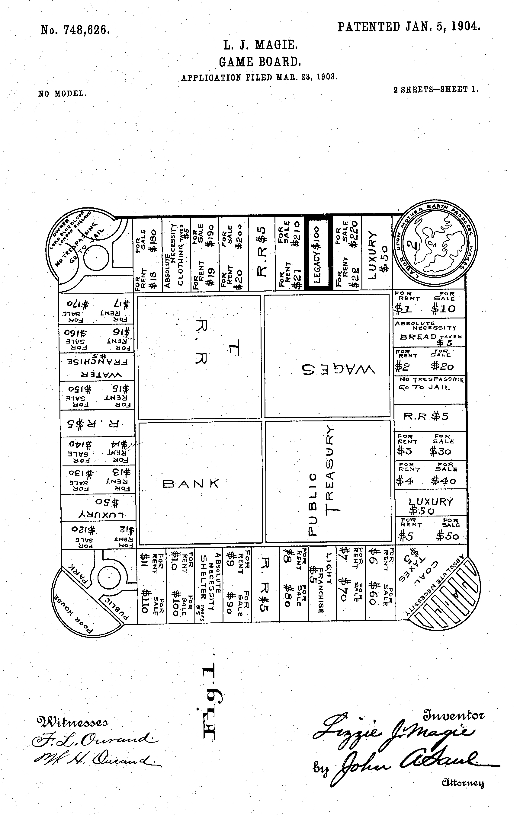 "1904 Patent for ""The Landlord's Game,"" a precursor to Monopoly."