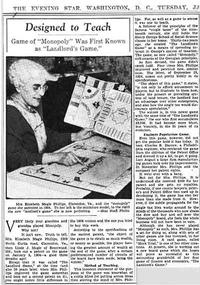 "A story in the Evening Star about Elizabeth Magie Phillips and ""The Landlords' Game"""