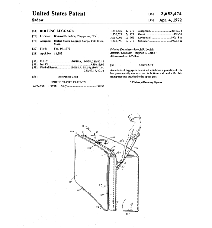 Patent for Rolling Luggage, 1972