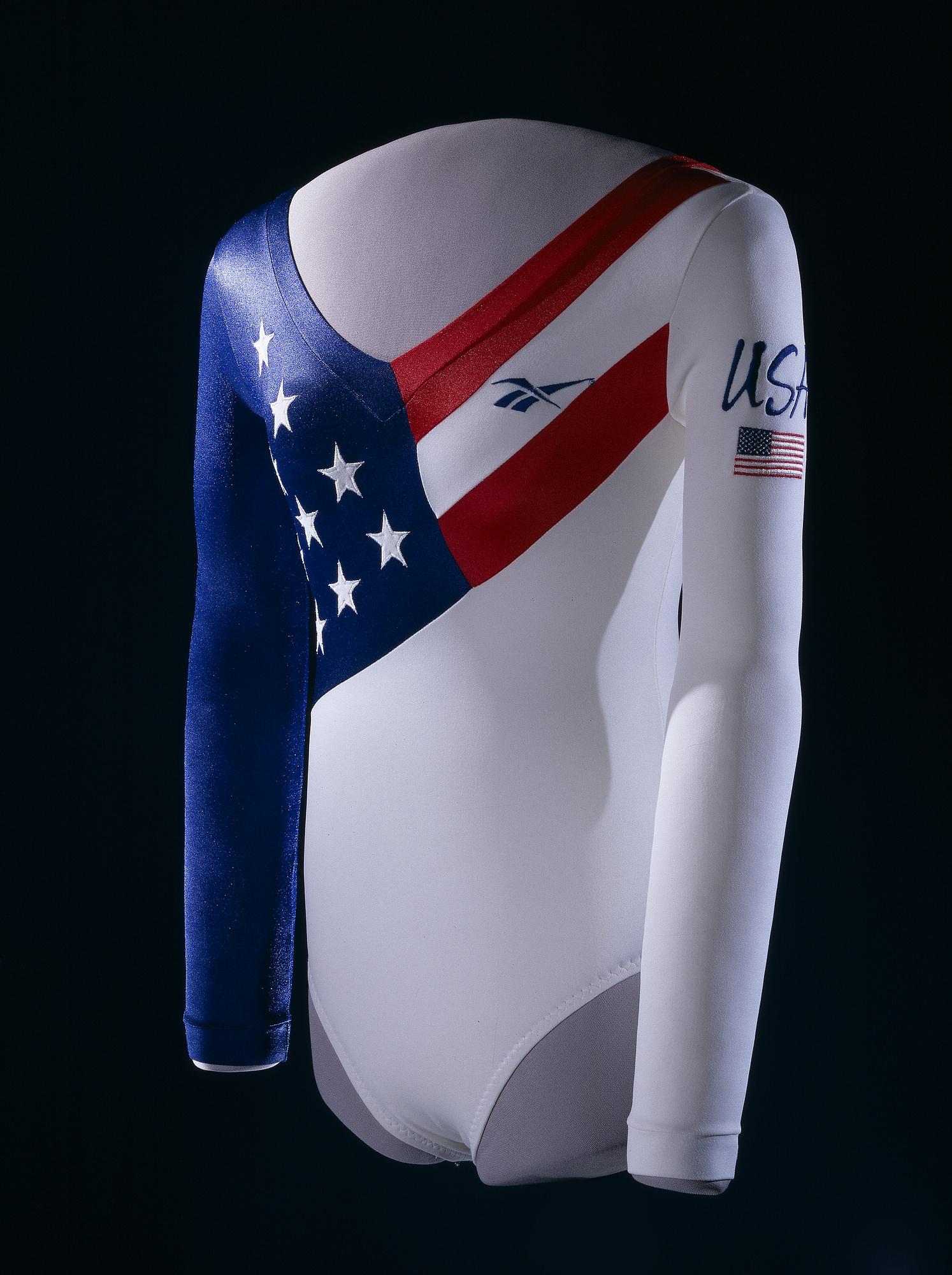 USA gymnastics leotard worn by Dominque Dawes in 1996 Olympics