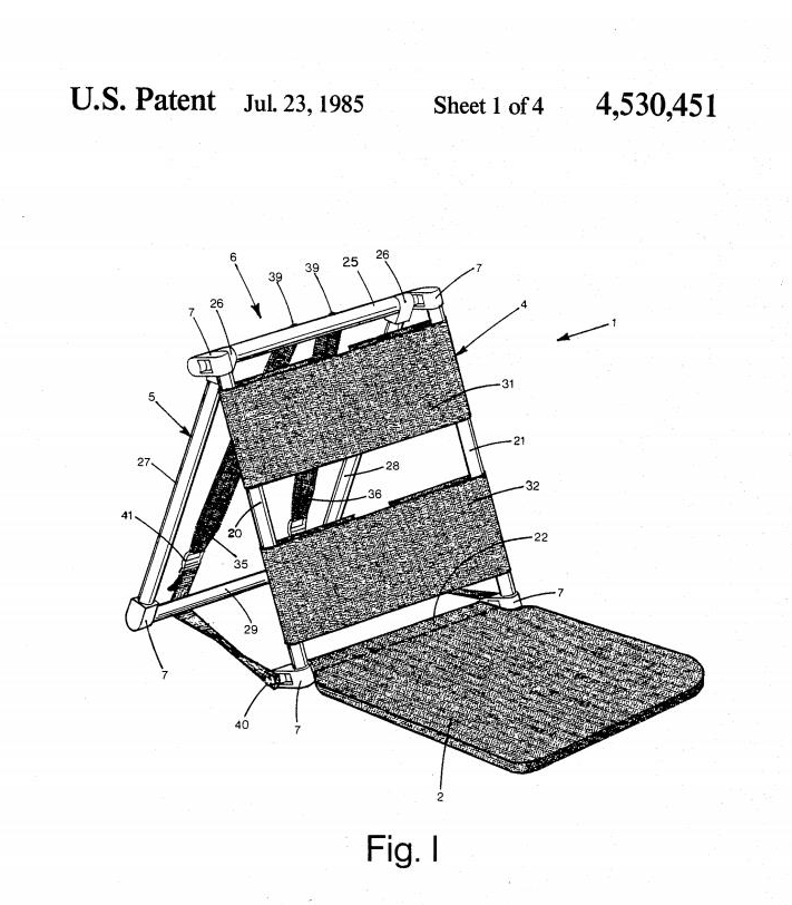 Drawing for James Hamilton's backpack/beach chair patent.