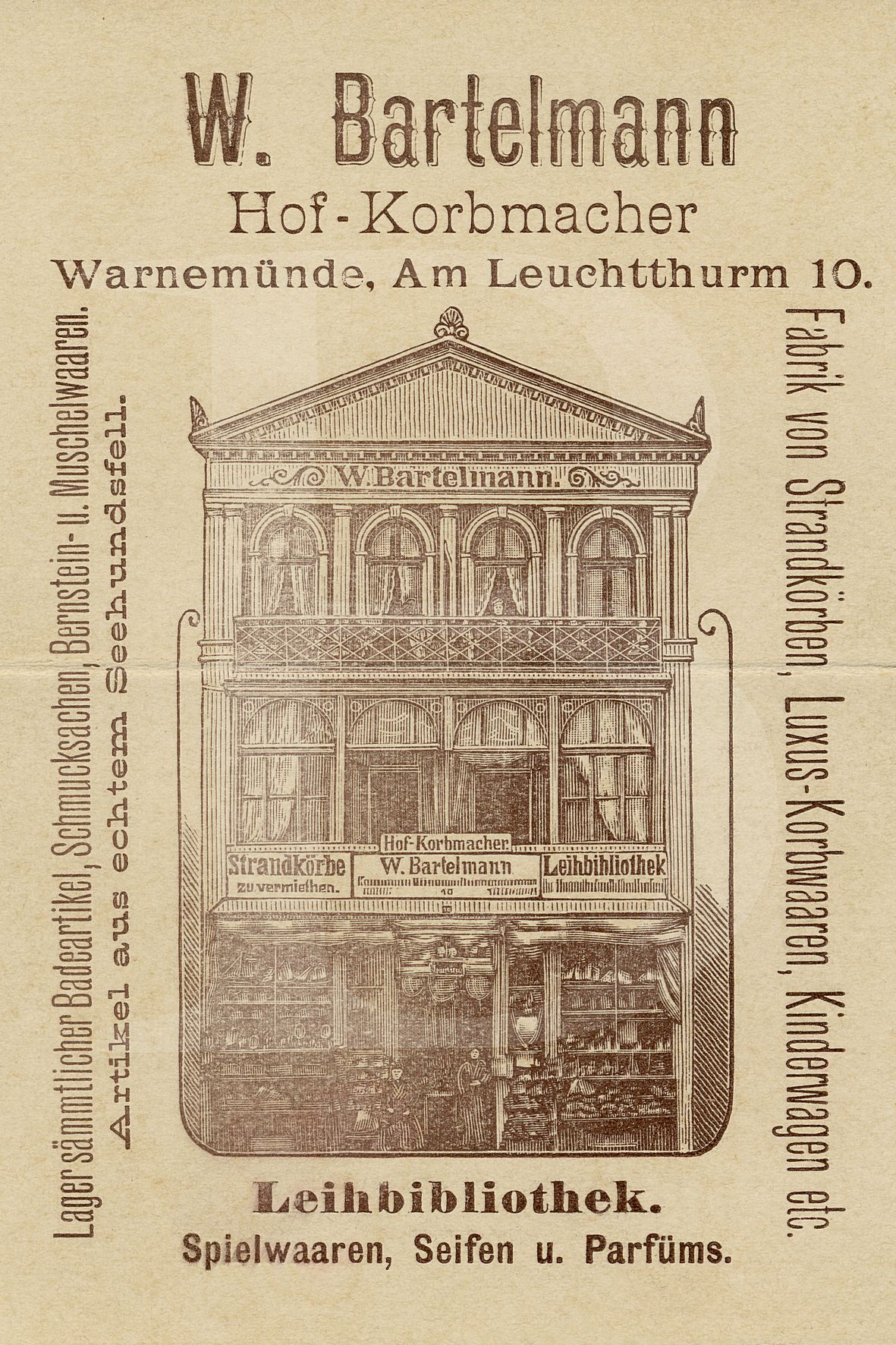 Advertisement featuring German text and a drawing of the workshop and store for Bartelmann's strandkorb business. Image courtesy of Bartelmann.com.