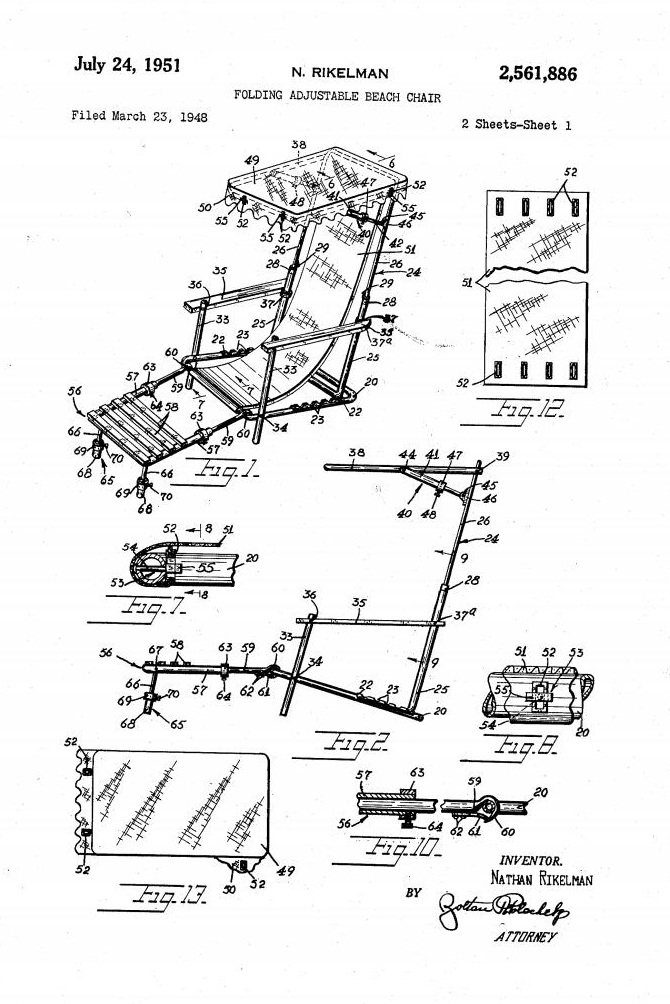 Image of patent drawing of Folding Adjustable Beach Chair