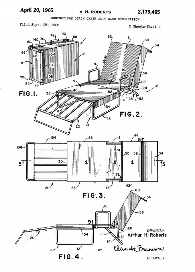 Image of drawing of patent for Convertible Beach Chair-Suit Case Combination