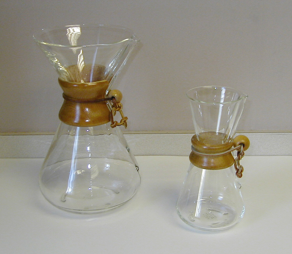A Chemex coffee maker.