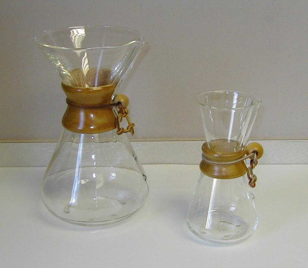 A Chemex coffee maker.