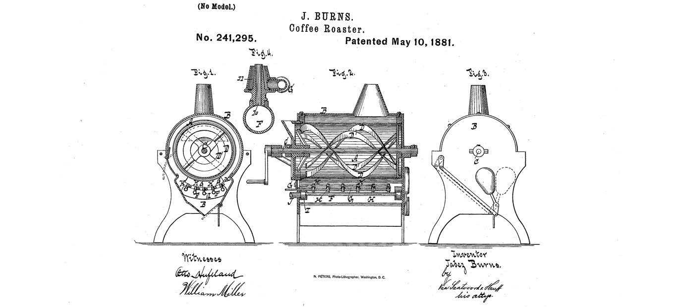 """Patent drawing for """"coffee roaster,"""" 1881."""