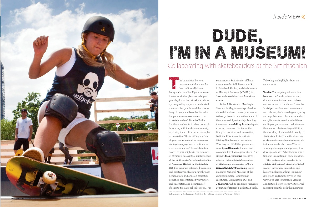 Opening spread of Dude I'm In A Museum article about Innoskate in Museum magazine