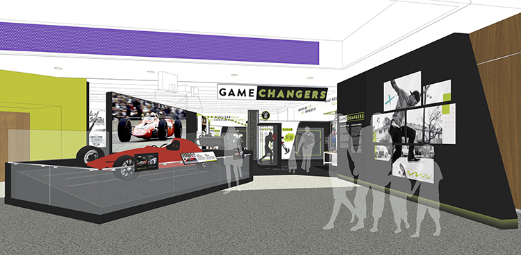 Rendering of exhibition entrance showing STP-Paxton Turbocar