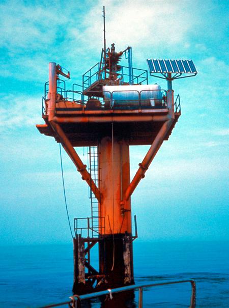Solar panels on off-shore oil platform, around 2010
