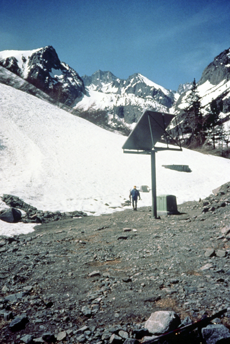 Solar-powered communications relay in Inyo National Forest, California