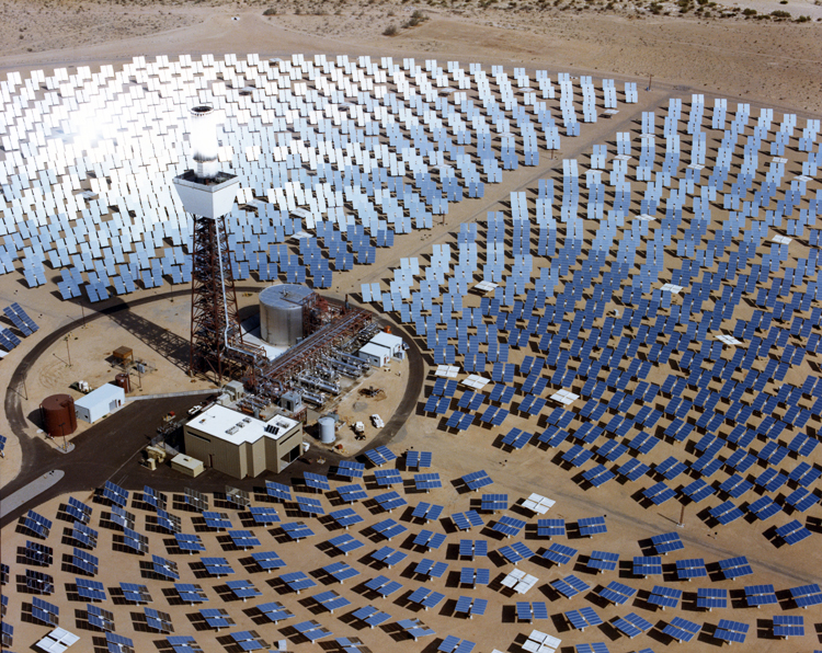 Solar One project to generate electricity for the grid, Barstow, California, 1982