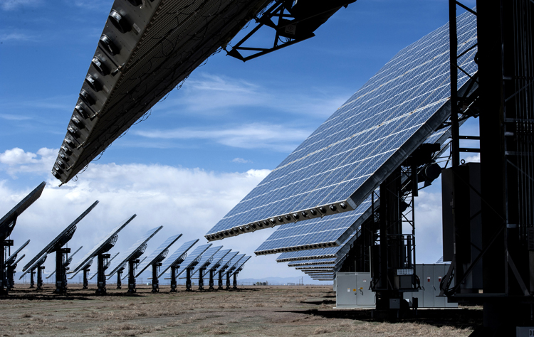 Photovoltaic panels installed at the Alamosa Solar Generating Project, Colorado, 2014