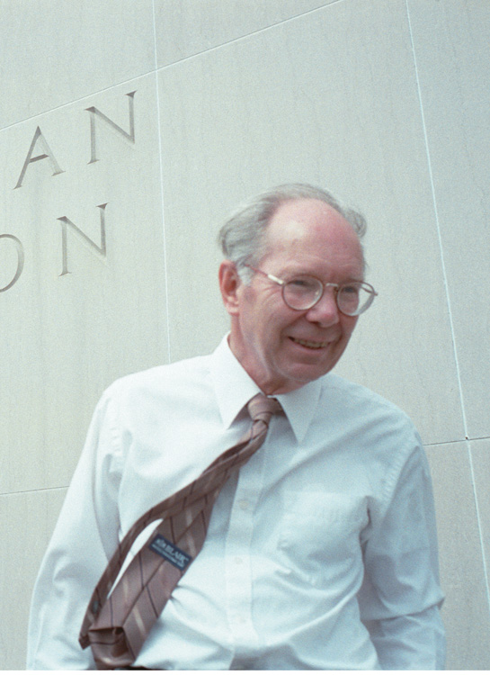 Candid photo of Newman Darby taken outside the Smithsonian National Museum of American History