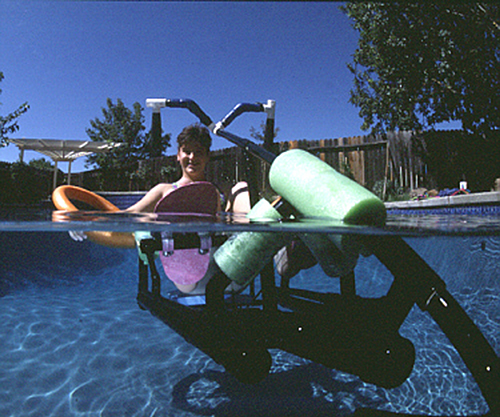 Krysta Morlan on the Waterbike she invented