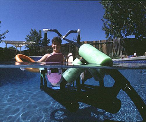 Krysta Morlan on the Waterbike she invented