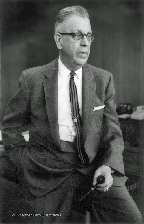Percy LeBaron Spencer, seated, three-quarters portrait