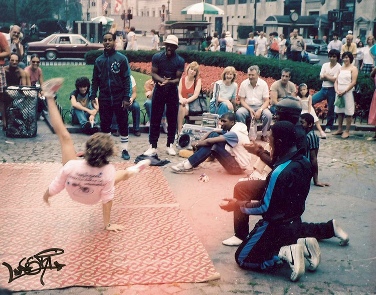 B-Girl Laneski break dancing in New York City, 1985